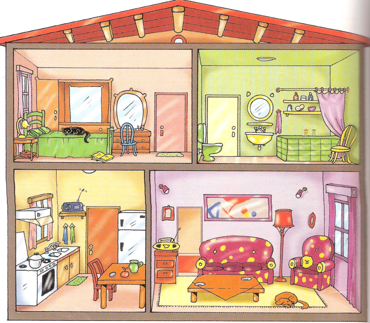 Картинка комнаты с мебелью для английского языка, для матери