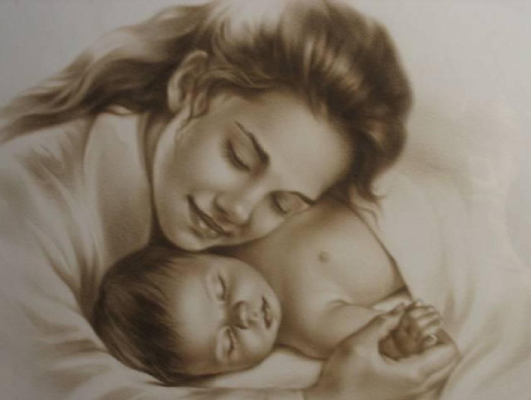 Картинки мамы и ребенка карандашом